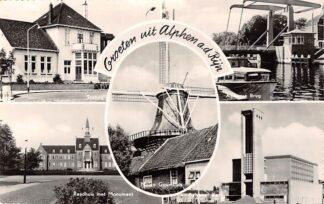 Ansichtkaart Alphen aan den Rijn Groeten uit 1963 Station Raadhuis Brug Gereformeerde Kerk Molen HC8886