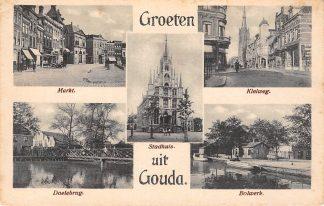 Ansichtkaart Gouda Groeten uit Markt Kleiweg Doelenbrug Stadhuis en Bolwerk HC8916