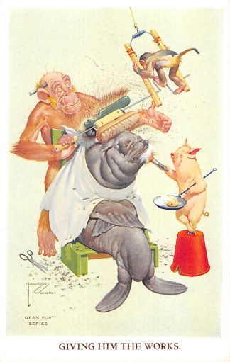 Ansichtkaart Fantasie Gran'Pop Series Illustrator Lawson Wood  Giving him the Works Apen Varken Zeeleeuw Dieren Humor  HC8932