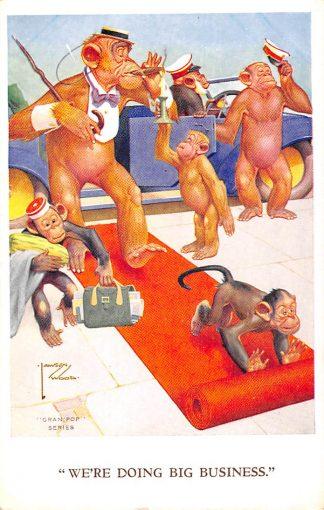Ansichtkaart Fantasie Gran'Pop Series Illustrator Lawson Wood We're doing big business Humor Dieren Apen HC8942