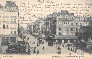 Ansichtkaart België Bruxelles Boulevard Anspach Paardentram Tram Auto 1904 Europa HC8966