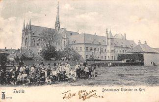 Ansichtkaart Zwolle Dominicaner Klooster en Kerk met kinderen 1904 HC8970