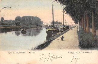 Ansichtkaart Zwolle Willemsvaart met Binnenvaart schepen Scheepvaart 1900 HC8971