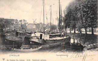 Ansichtkaart Zwolle Pannekoekendijk Molen Binnenvaart schepen Scheepvaart HC8979