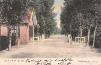 Ansichtkaart Ede Stationsweg met tol 1904 HC8993