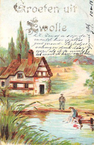 Ansichtkaart Zwolle Groeten uit 1903 HC9006