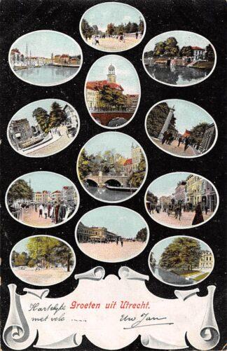 Ansichtkaart Utrecht Groeten uit 1905 12-luik HC9014