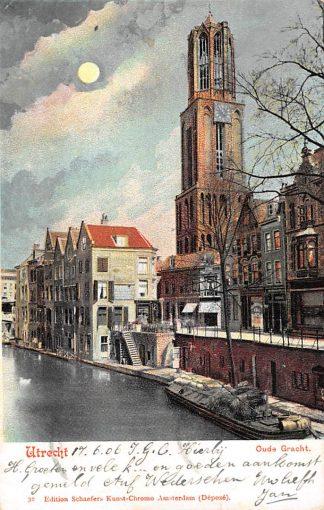 Ansichtkaart Utrecht Oude Gracht met binnenvaart schepen Scheepvaart HC9031