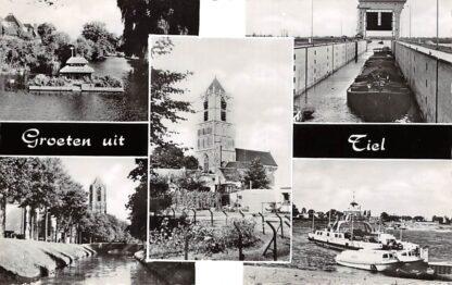 Ansichtkaart Tiel Groeten uit Vijfluik Veer pont Sluis Binnenvaart schepen Scheepvaart HC9036