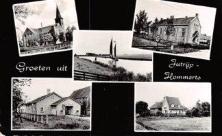 Ansichtkaart Jutrijp Hommerts Heeg Groeten uit met vijfluik School Kerk HC9068