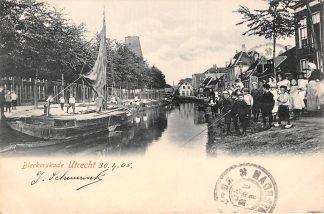 Ansichtkaart Utrecht Bleekerskade Molen de Kat Binnenvaart schepen Scheepvaart Visser 1905 HC9080
