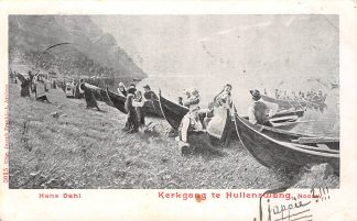 Ansichtkaart Noorwegen Hullenswang Kerkgang 1902 Schepen Norge Europa Fantasie Illustrator Hans Dahl HC9084