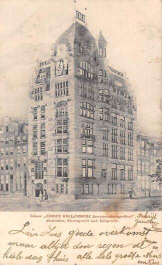 Ansichtkaart Amsterdam Gebouw Eerste Hollandsche Levensverzekering-bank Keizersgracht hoek Leliegracht 1905 HC9092