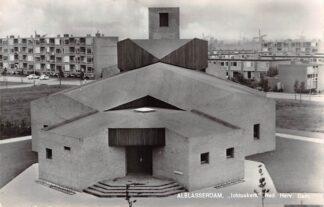 Ansichtkaart Alblasserdam Ichtus kerk Ned. Hervormde Gemeente 1967 Molens Kinderdijk op achtergrond HC9230
