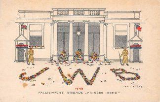 Ansichtkaart Den Haag 1945 WO2 Paleiswacht Brigade Prinses Irene Militair HC9280