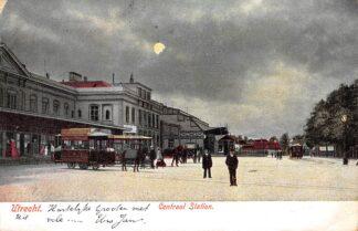 Ansichtkaart Utrecht Centraal Station Paarden tram Spoorwegen 1903 HC9343
