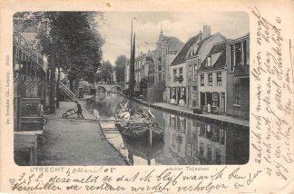 Ansichtkaart Utrecht Achter Twijnstraat met binnenvaart schip Scheepvaart 1905 HC9349