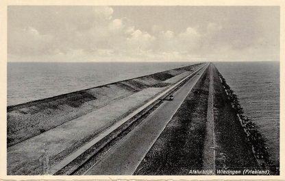 Ansichtkaart Wieringen 1932 Afsluitdijk met auto Friesland Flevoland IJsselmeer HC9368