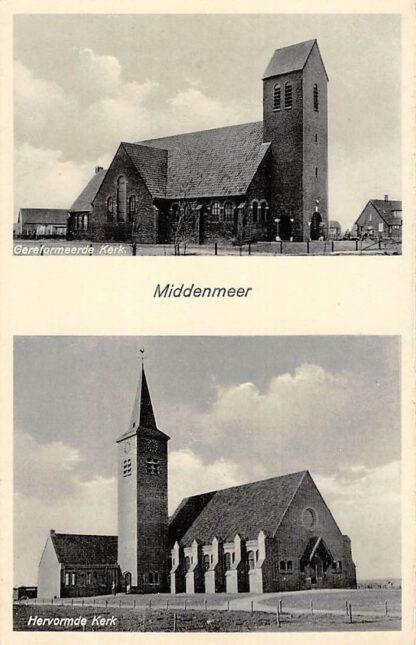 Ansichtkaart Wieringen 1932 Middenmeer Ned. Hervormde en Gereformeerde Kerk Afsluitdijk IJsselmeer Friesland Flevoland HC9375