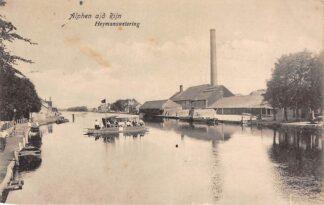 Ansichtkaart Alphen aan den Rijn Veer pont Heymanswetering met fabriek 1920 Binnenvaart schepen HC9399