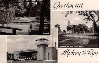 Ansichtkaart Alphen aan den Rijn Groeten uit 1961 Bospark 's Molenaarsbrug en Rotonde met Ned. Hervormde Kerk HC9407