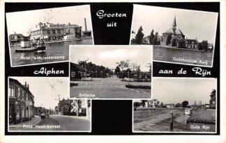 Ansichtkaart Alphen aan den Rijn Groeten uit 1961 Hotel 's Molenaarsbrug Avifauna Oudhoornse Kerk Prins Hendrikstraat en Oude Rijn HC9408