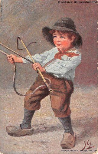 Ansichtkaart Fantasie Bunschoten Koetsier in klederdracht Kind Illustrator J. Gerstenhauer 1904 HC9415