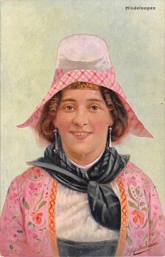 Ansichtkaart Fantasie Hindeloopen Vrouw in klederdracht Illustrator J. Gerstenhauer HC9418