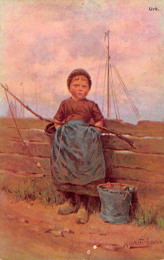 Ansichtkaart Fantasie Urk Vissers meisje in klederdracht Illustrator J. Gerstenhauer HC9420