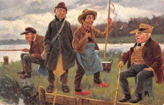 Ansichtkaart Fantasie Sport vissers Illustrator J. Gerstenhauer HC9423