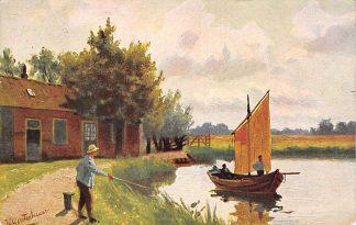 Ansichtkaart Fantasie Sport visser Illustrator J. Gerstenhauer HC9424