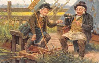 Ansichtkaart Fantasie Sport vissers nemen een glaasje Illustrator J. Gerstenhauer HC9425