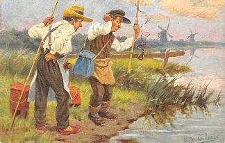 Ansichtkaart Fantasie Sport vissers met misvangst Illustrator J. Gerstenhauer HC9426