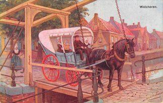 Ansichtkaart Fantasie Walcheren Paard en wagen Klederdracht Middelburg Illustrator J. Gerstenhauer HC9428