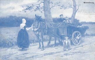 Ansichtkaart Fantasie Middelburg 1905 Paard en wagen Melkkar Klederdracht Illustrator J. Gerstenhauer HC9429