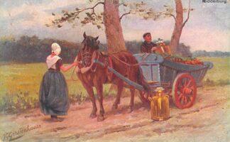 Ansichtkaart Fantasie Middelburg Paard en wagen Melkkar Klederdracht Illustrator J. Gerstenhauer HC9430