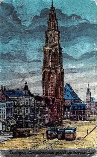 Ansichtkaart Groningen Emaillekaart Martinitoren Trams tram halte HC9437
