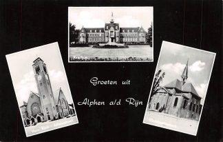 Ansichtkaart Alphen aan den Rijn Groeten uit 1966 Hervormde Kerk Julianastraat Raadhuis en Oudhoornse kerk HC9447