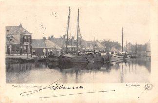 Ansichtkaart Groningen Verbindings kanaal Binnenvaart schepen Scheepvaart Kleinrondstempel 1901 HC9476