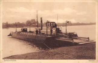 Ansichtkaart Schoonhoven Veerpont bij Gelkenes Aan de overkant Schoonhoven Binnenvaart schepen Pont 1930 HC9503