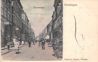 Ansichtkaart Groningen Heerestraat Kleinrondstempel Groningen - Station 1902 Filatelie HC9523