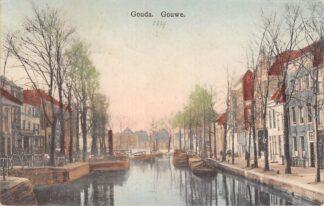 Ansichtkaart Gouda Gouwe hoek Nonnenwater 1914 Binnenvaart schepen Scheepvaart HC9577