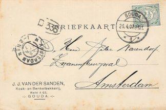 Ansichtkaart Gouda Markt A 63 Reclame J.J. van der Sanden Koek- en Banket bakkerij 1907 HC9583