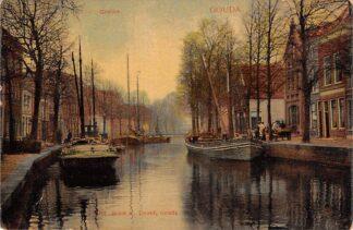 Ansichtkaart Gouda Gouwe hoek Achter de Vischmarkt en Groenendaalbrug HC9588