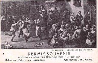 Ansichtkaart Gouda Kermis - Souvenir Th. Furrer Kapper Groeneweg L 187 Salon voor Scheren en Haarsnijden Reclame HC9592