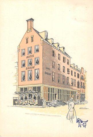 Ansichtkaart Groningen Hotel Café Restaurant Baulig 1959 Heerestraat Reclame HC9593