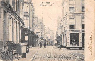 Ansichtkaart Groningen Stoeldraaierstraat Kleinrondstempel Zwartsluis 1903 Filatelie HC9605