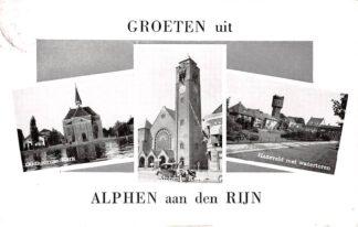 Ansichtkaart Alphen aan den Rijn Groeten uit Hazeveld met Watertoren Alphense en Oudhoornse Kerk HC9644