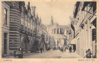 Ansichtkaart Alkmaar Langestraat Stadhuis met Gr. Kerk 1936 HC9648