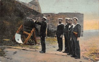 Ansichtkaart Marine Militair Schietoefening matrozen en officier met pistool op het stand 1907 HC9684